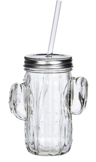 Sklenice na limonádu s brčkem 400 ml CACTUS bílá