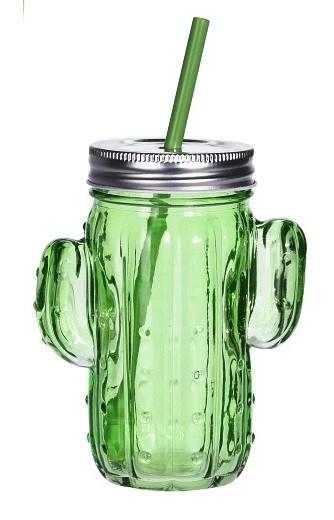 Sklenice na limonádu s brčkem 400 ml CACTUS zelená EXCELLENT KO-CD1000270ze