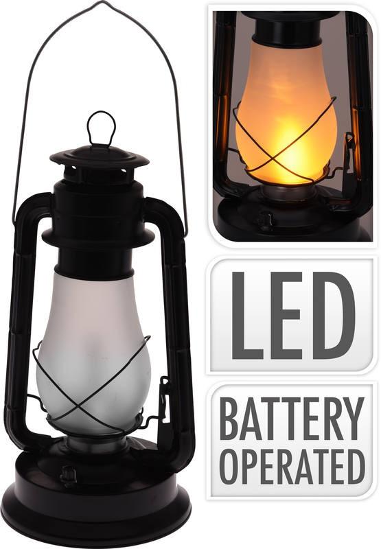 Lucerna s LED žárovkou kov 37 cm černá