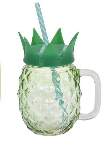 Sklenice na limonádu s brčkem 400 ml ANANAS zelená EXCELLENT KO-DS6000960ze