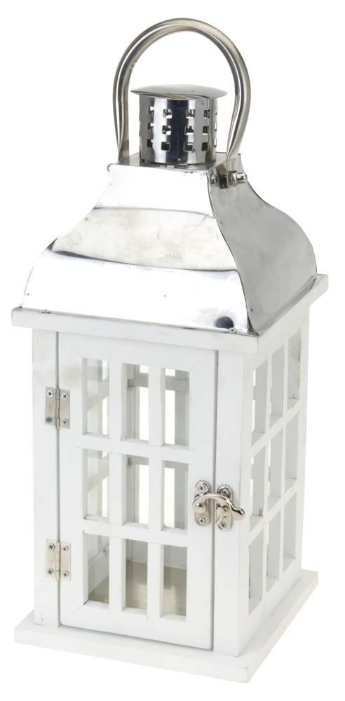 Lucerna dřevěná 47 cm bílá HOMESTYLING KO-HZ1200020