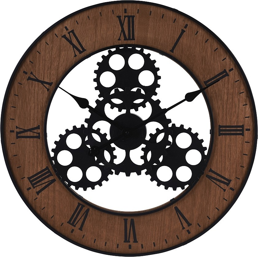 Hodiny nástěnné INDUSTRIAL kov / dřevo 57 cm