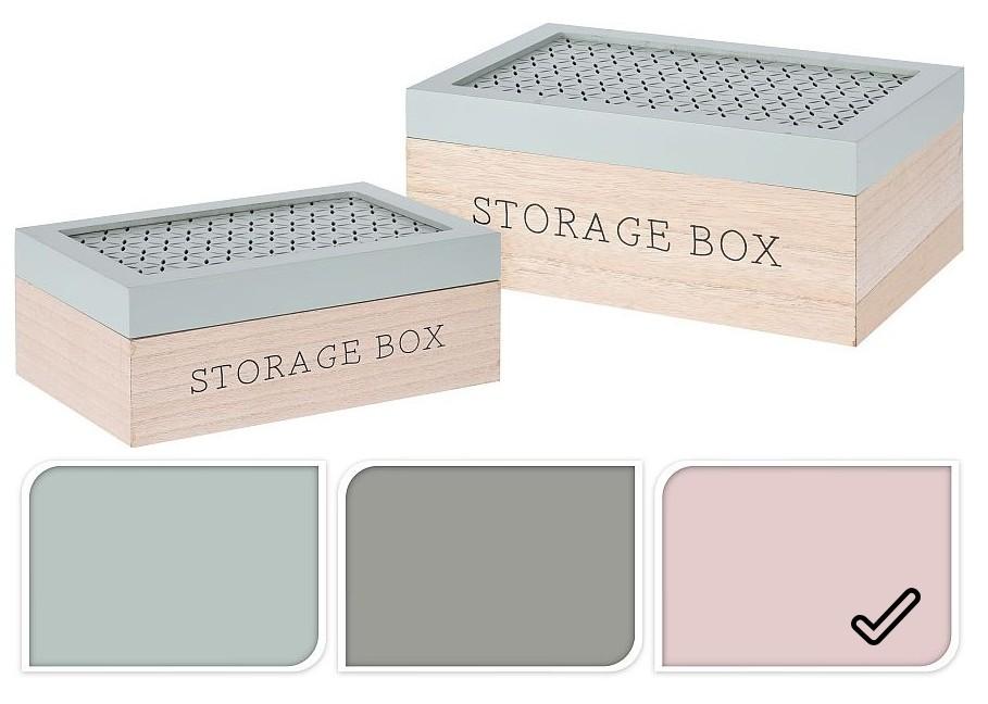 Úložný box dřevo sada 2 ks růžová