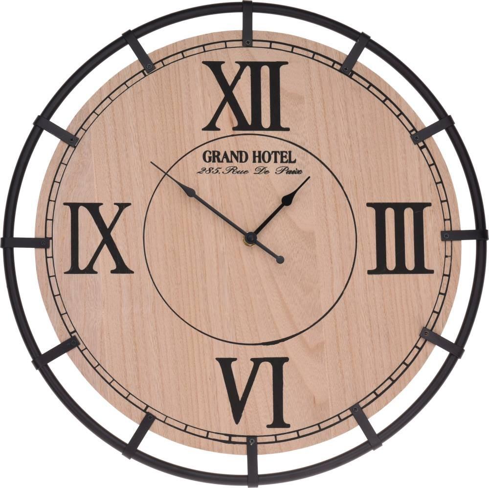 Hodiny nástěnné dřevo / kov 40 cm HOMESTYLING KO-HZ2001030