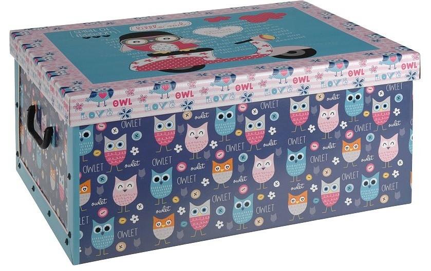 Úložný box dekorativní sovy modrý