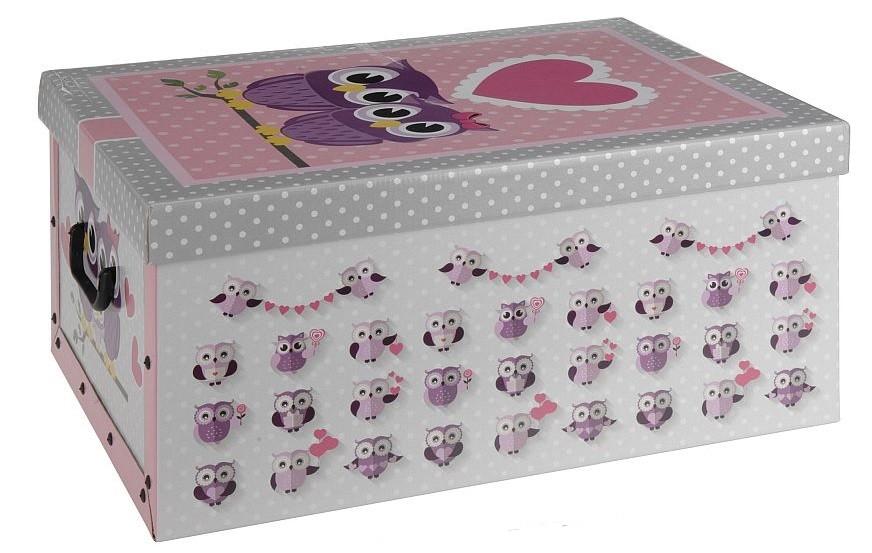Úložný box dekorativní sovy růžový