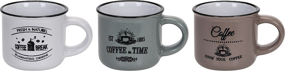 Hrnek na espresso keramika sada 3 ks 100 ml