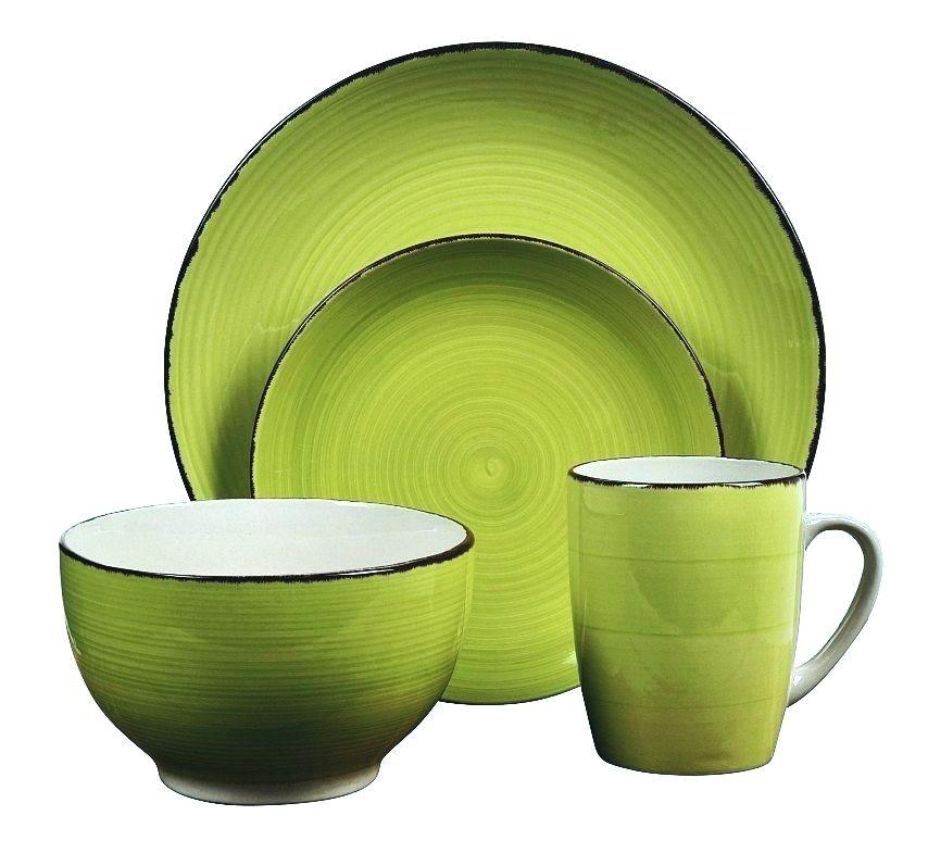 Jídelní sada talířů VALENCIA kamenina 16 ks zelená