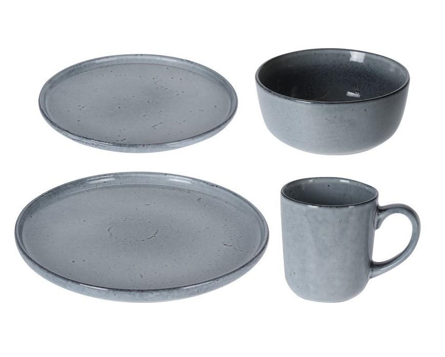 Jídelní sada talířů JERSEY 16 ks šedá EXCELLENT KO-Q91000050