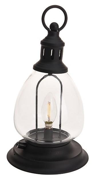 Lucerna s LED žárovkou 33 cm černá PROGARDEN KO-XX8111070