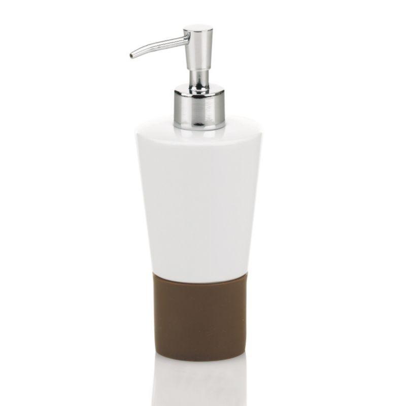 Dávkovač mýdla PIANO keramika / hnědý silikón