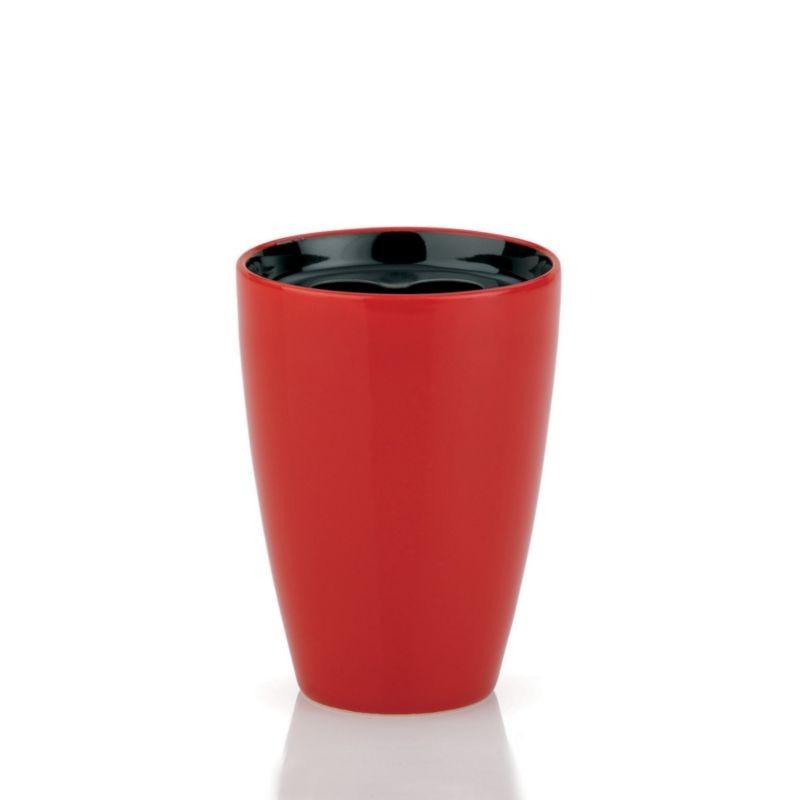 Držák na zubní kartáček ATLANTA, nerez, keramika červená/černá