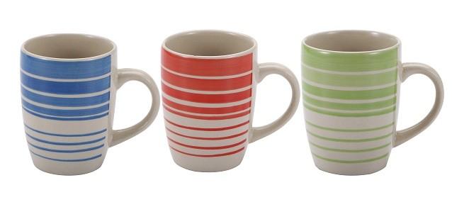 Hrnek 260 ml keramika sada 6 ks modrá / červená / zelená RENBERG RB-10650