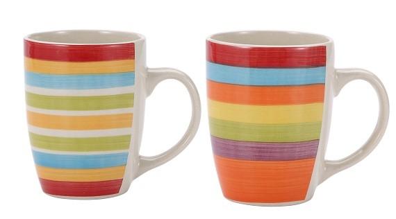 Hrnek 260 ml keramika sada 6 ks barevné pruhy RENBERG RB-10650