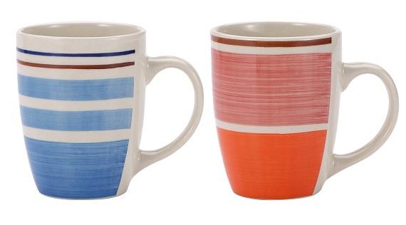 Hrnek 260 ml keramika sada 6 ks modrá / oranžová RENBERG RB-10650