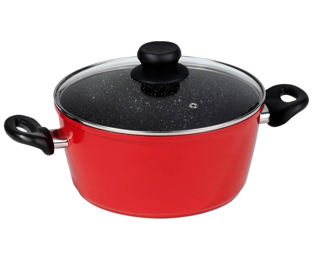 Hrnec s mramorovým povrchem 24 cm, červený STONELINE WX-13575