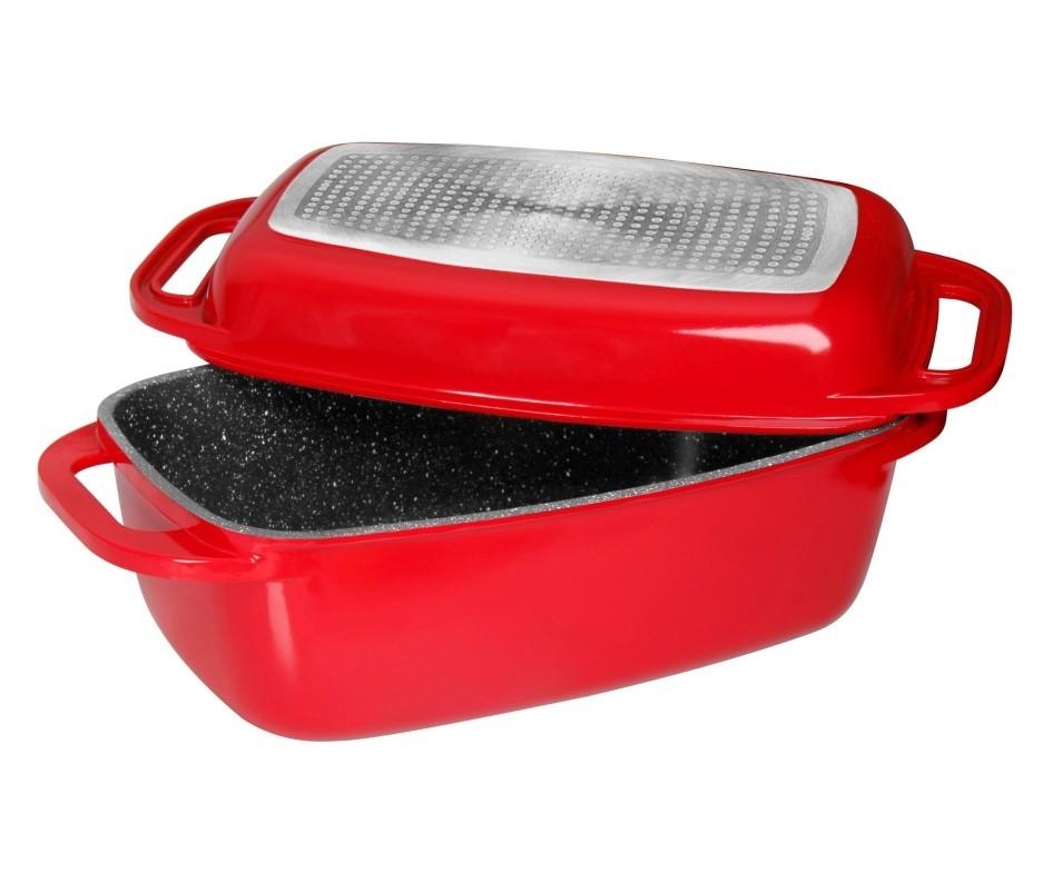 Pekáč s mramorovým povrchem s poklicí 43 cm červená STONELINE WX-14101